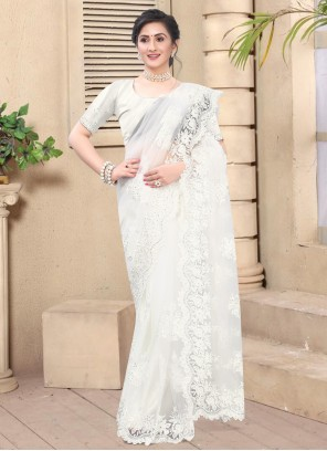 Embroidered Net White Contemporary Saree
