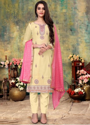 Embroidered Off White Chanderi Pant Style Suit
