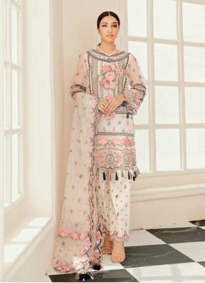 Embroidered Off White Faux Georgette Designer Pakistani Salwar Suit