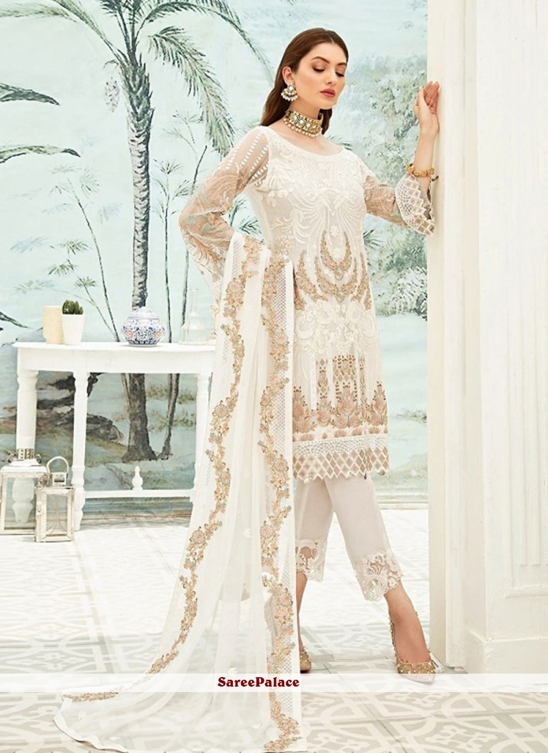 Embroidered Off White Faux Georgette Pant Style Suit