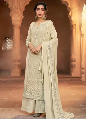 Embroidered Off White Georgette Designer Pakistani Suit