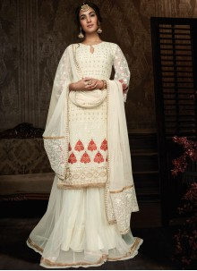 Embroidered Off White Georgette Lehenga Choli