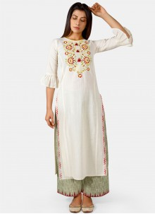 Embroidered Off White Cotton Party Wear Kurti