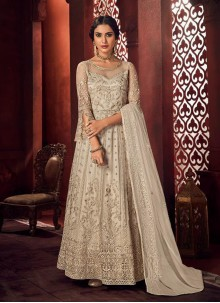 Embroidered Off White Net Floor Length Anarkali Suit