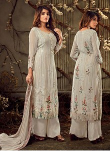 Embroidered Off White Palazzo Suit