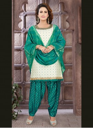 Embroidered Off White Readymade Suit