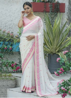 Embroidered Off White Traditional Designer Saree