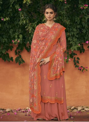 Embroidered Orange Art Silk Designer Palazzo Salwar Kameez