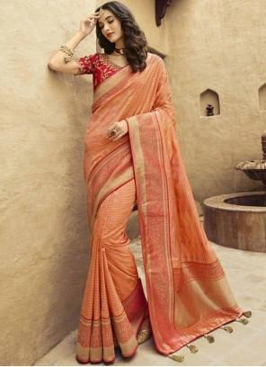 Embroidered Orange Art Silk Traditional Designer Saree