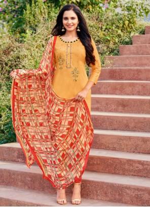 Embroidered Orange Churidar Designer Suit