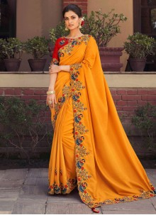Embroidered Orange Fancy Fabric Designer Saree
