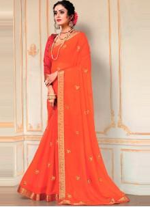 Embroidered Orange Faux Chiffon Classic Designer Saree