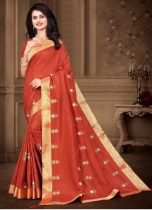 Embroidered Orange Silk Traditional Saree