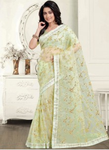 Embroidered Organza Green Trendy Saree