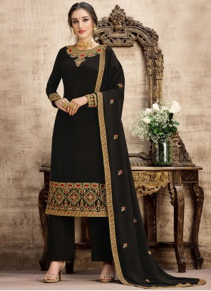 Black Embroidered Palazzo Salwar Suit