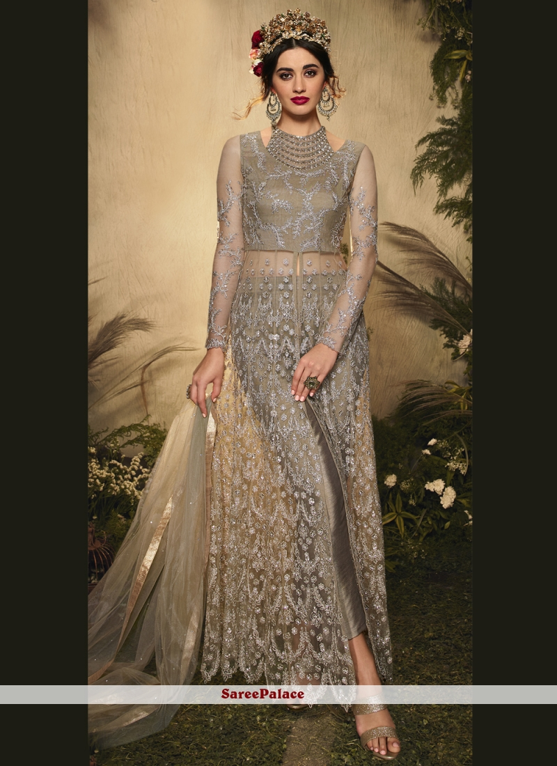 Grey Embroidered Pant Style Suit