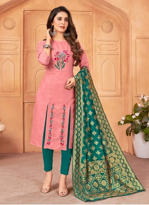 Pink Embroidered Handloom Cotton Pant Style Suit