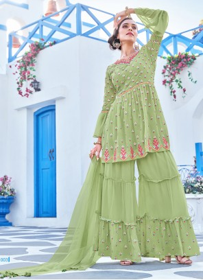 Green Embroidered Party Bollywood Salwar Kameez