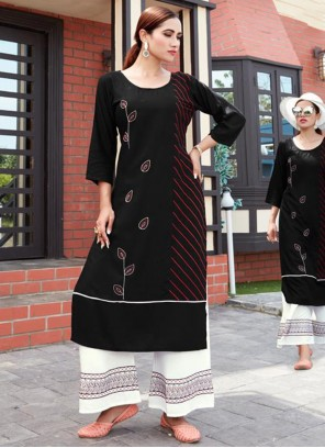 Black Embroidered Party Casual Kurti