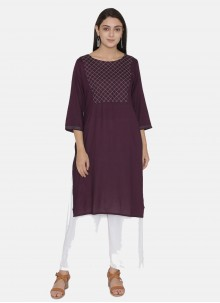 Embroidered Purple Party Casual Kurti