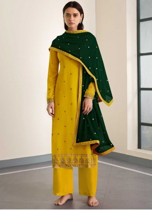 Yellow Embroidered Party Designer Palazzo Suit