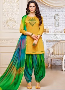 Yellow Embroidered Party Designer Patiala Suit
