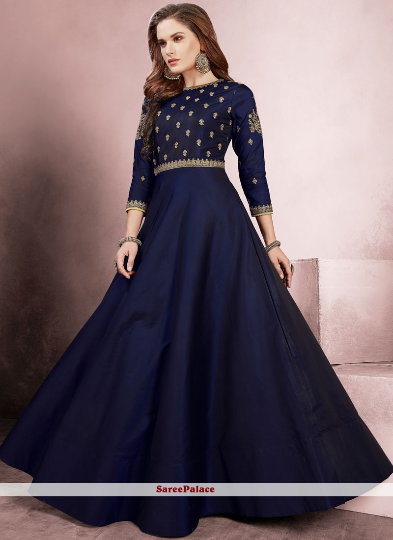 Blue Embroidered Silk Readymade Gown