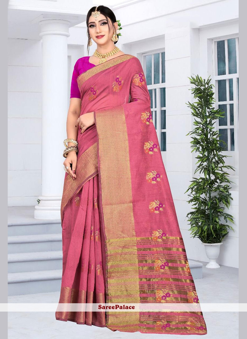 Pink Embroidered Party Silk Saree