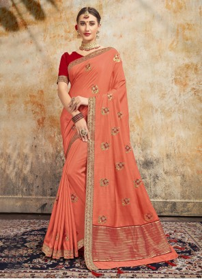 Embroidered Party Peach Traditional Saree