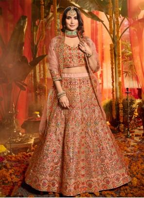 Embroidered Party Trendy Multi Colour Lehenga Choli