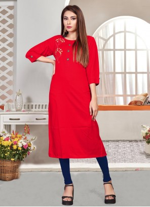 Embroidered Red Party Wear Kurti