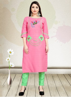 Pink Embroidered Blended Cotton Party Wear Kurti