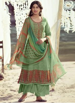 Green Embroidered Pashmina Designer Palazzo Salwar Suit