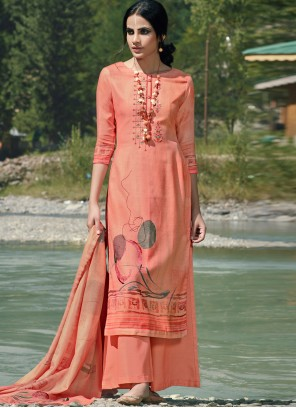Embroidered Pashmina Trendy Palazzo Suit in Peach