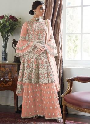 Embroidered Peach Designer Palazzo Suit