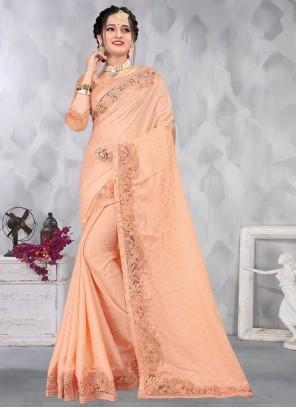 Embroidered Peach Designer Saree