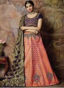 Embroidered Peach Jacquard Silk Designer Lehenga Choli