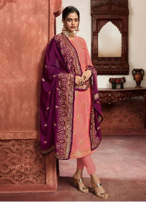 Embroidered Peach Jacquard Silk Pant Style Suit