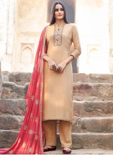 Embroidered Peach Muslin Salwar Suit
