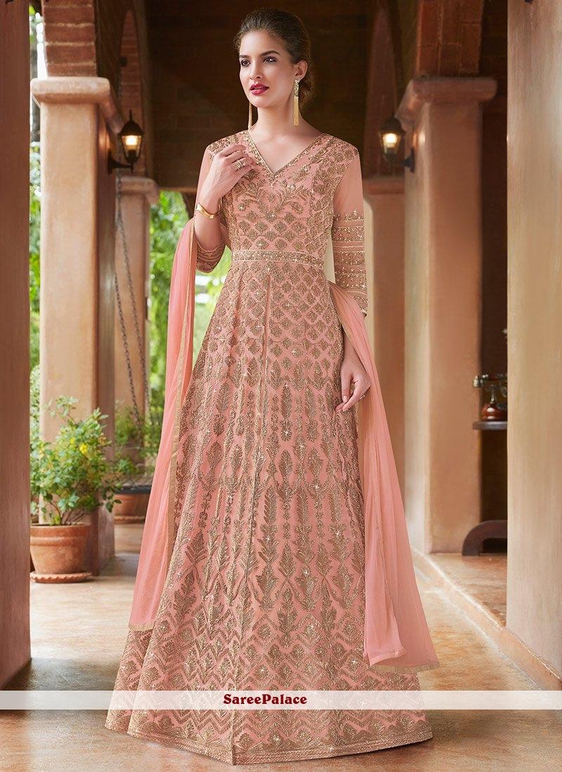 Embroidered Peach Net Floor Length Anarkali Suit