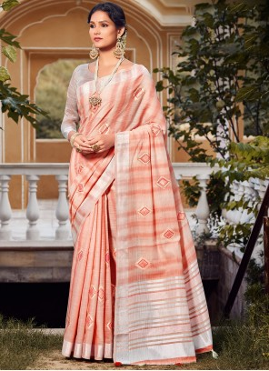 Embroidered Peach Traditional Saree