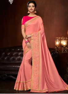 Embroidered Pink Art Silk Designer Traditional Saree