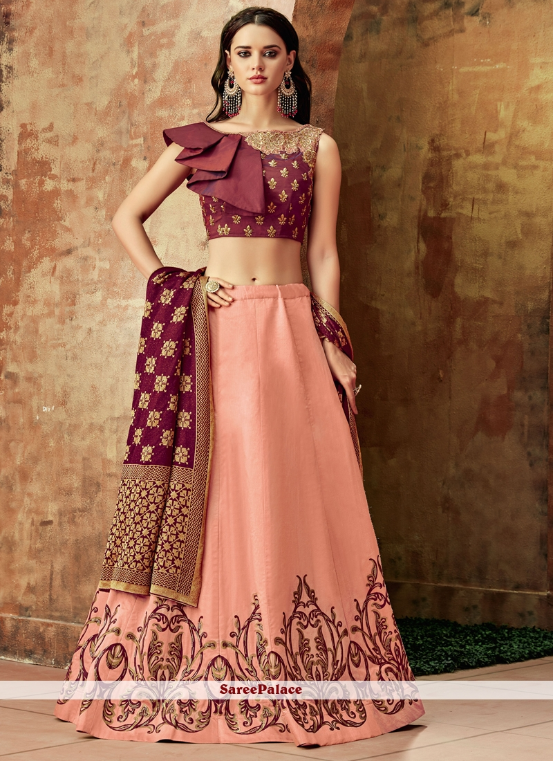 Embroidered Pink Art Silk Lehenga Choli