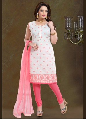 Embroidered Pink Chanderi Readymade Suit