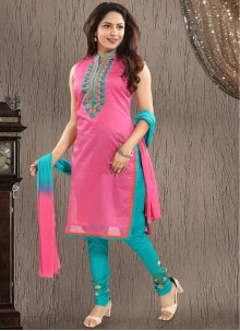 Embroidered Pink Chanderi Salwar Suit