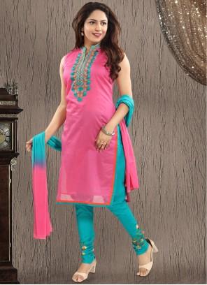 Embroidered Pink Chanderi Salwar Suit