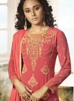 Embroidered Pink Churidar Designer Suit