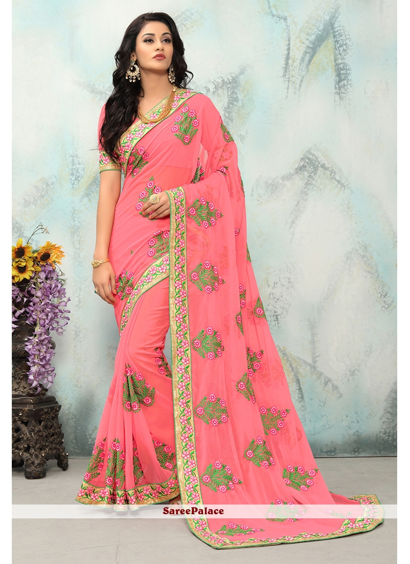 Embroidered Pink Classic Saree