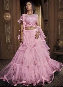 Embroidered Pink Designer Lehenga Choli