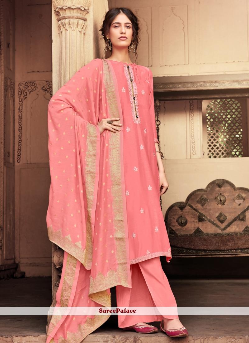 Embroidered Pink Designer Salwar Suit